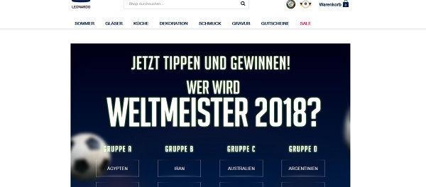 Leonardo WM Gewinnspiel Weltmeister 2018 tippen