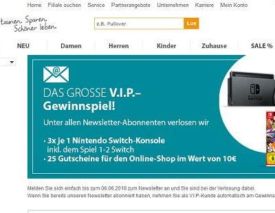 NKD Gewinnspiel Nintendo Switch Konsolen und Gutscheine