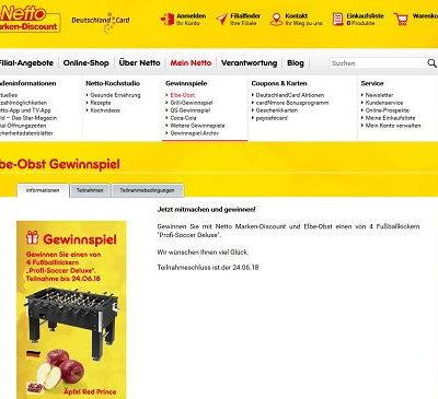 Netto und Elbe Obst Gewinnspiel 4 Kickertische