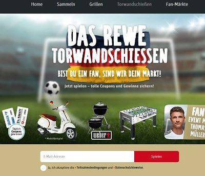 REWE Torwandschiessen Gewinnspiel Vespa und Weber Grill