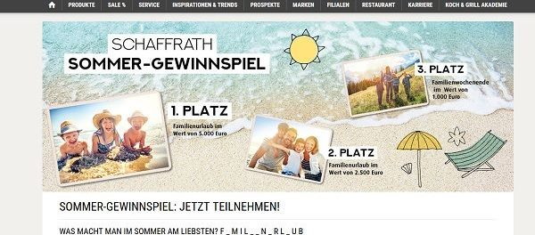 Schaffrath Sommer-Gewinnspiel 5.000 Euro Familienurlaub