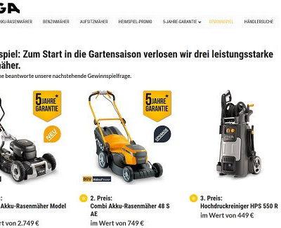 Stiga Garten Gewinnspiel Akku Rasenmäher und Hochdruckreiniger