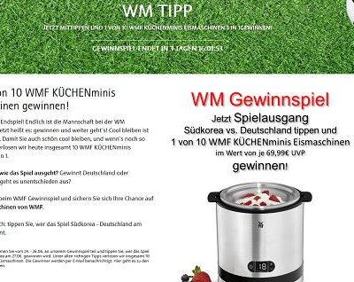 WMF WM Gewinnspiel Küchenminis Eismaschinen gewinnen