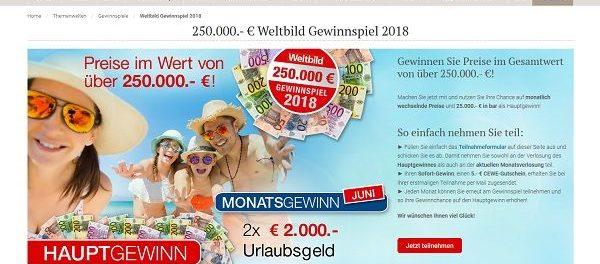 Weltbild Gewinnspiel 25.000 Euro Bargeld gewinnen
