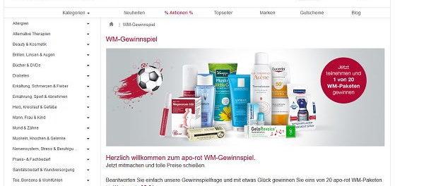 apo-rot WM Gewinnspiel 20 WM-Pakete gewinnen