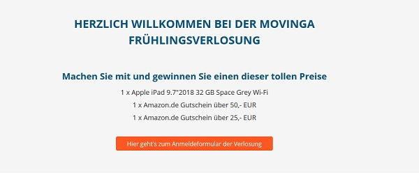 movinga Gewinnspiel Appel iPad und Amazon Gutscheine
