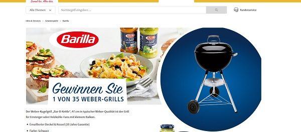 real Gewinnspiel Barilla verlost 35 Weber Grills