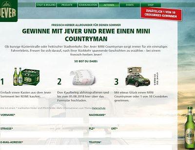 Auto Gewinnspiel Jever und REWE Mini Countryman