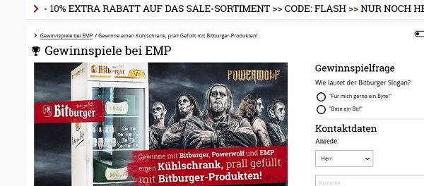 EMP Versand Gewinnspiel Bitburger Getränkegkühlschrank