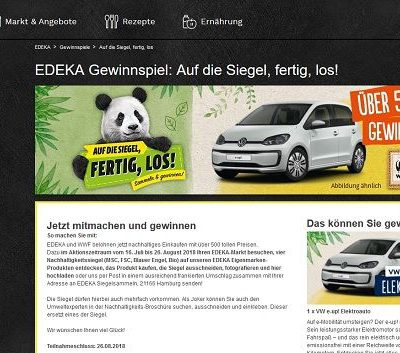 Edeka Auto Gewinnspiel VW E-UP Elektroauto