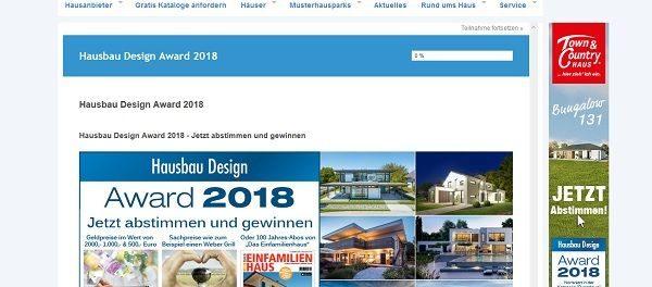 Geld Gewinnspiel Hausbau-Portal Design Award 2018
