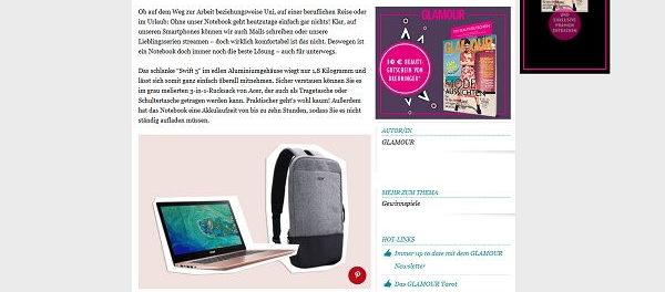 Glamour Gewinnspiel Acer Swift Notebook mit Rucksack