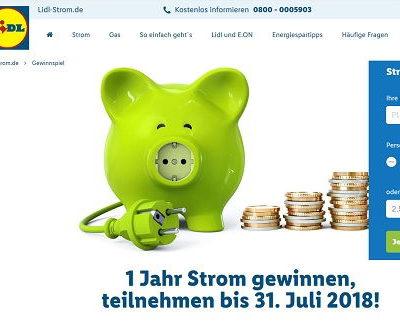 LIDL Gewinnspiel 1 Jahr Strom kostenlos gewinnen