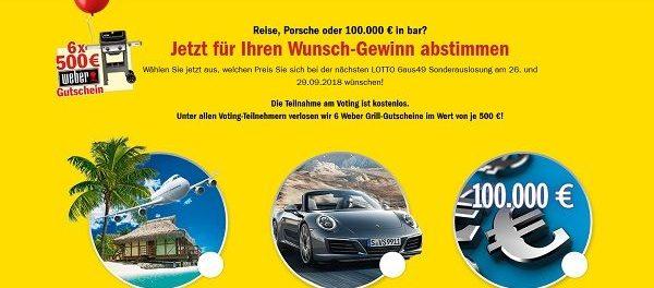 Lotto BW Wunschgewinnspiel 6 Weber Grill-Gutscheine Wert je 500 €