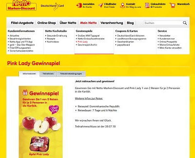 Netto Marken Discount Gewinnspiel Pink Lady Karibik Reisen