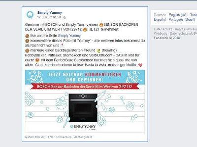 Simply Yummy Gewinnspiel Bosch Backofen Wert 3.000 Euro