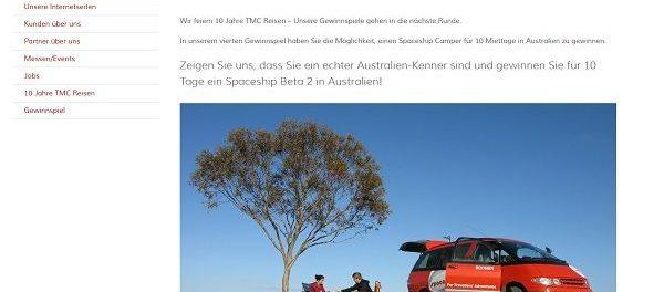 TMC Reisen Gewinnspiel Australien Urlaub mit dem Camper