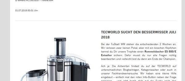 Tecworld Gewinnspiel Rummelsbacher Entsafter