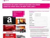 Telekom Gewinnspiel Amazon, Media Markt oder XXXLutz 2.500 Euro Gutschein
