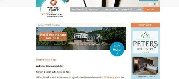 Wellnessfinder Gewinnspiel Peters Hotel und Spa Kurzurlaub