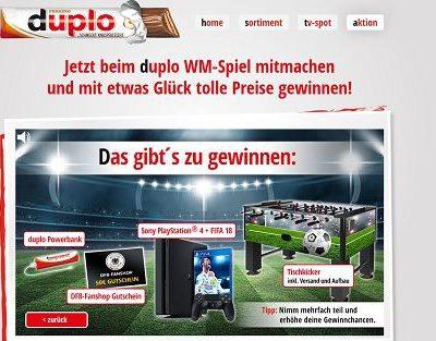 duplo WM Gewinnspiel Playstation 4 und Tischkicker