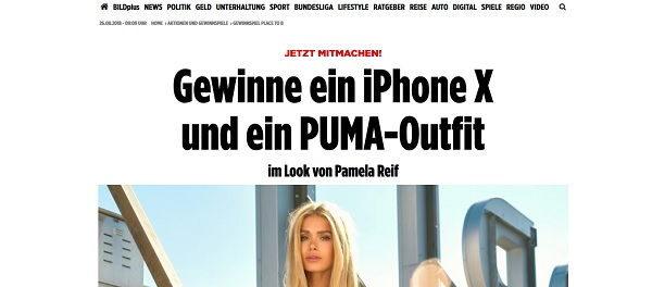 Apple iPhone X Gewinnspiel PLACE TO B und Pamela Reif