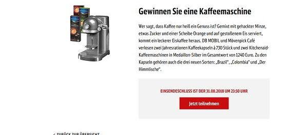 Deutsche Bahn Mobil Gewinnspiel KitchenAid Kaffeemaschine
