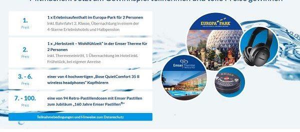Emser Gewinnspiel Europa Park Reise und Wohlfülwochenende