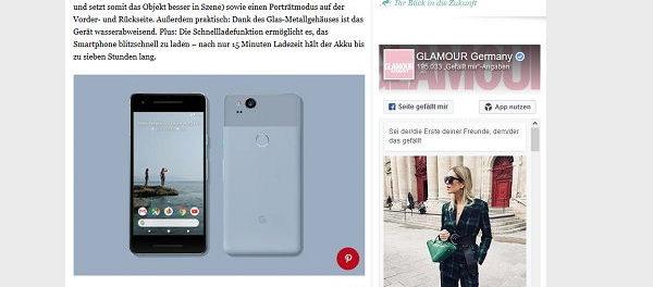 Glamour Gewinnspiel Google Pixel 2 Smartphone gewinnen