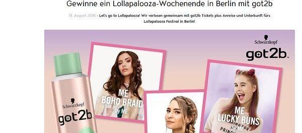 Jolie Reise Gewinnspiel Lollapalooza-Wochenende in Berlin