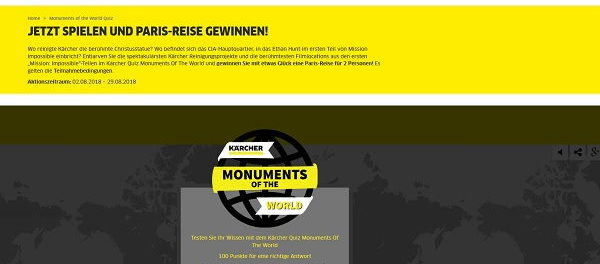 Kärcher Monuments of the World Gewinnspiel Paris Reise