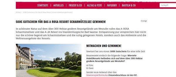 Kribbelbunt Gewinnspiel 500 Euro A Rosa Resort Scharmützelsee