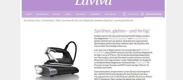 Laviva Gewinnspiel Luxus Dampfbügeleisen gewinnen