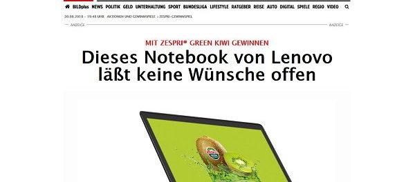 Lenovo Notebook Gewinnspiel Zespri Kiwi und Bild.de