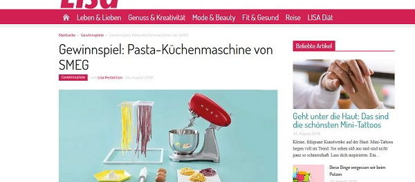 Lisa.de Gewinnspiel SMEG PastaKüchenmaschine gewinnen