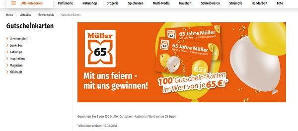 Müller Gewinnspiel 100 Einkaufsgutscheine Verlosung