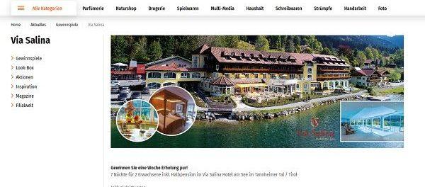 Müller Gewinnspiel Via Salina Hotel am See im Tannheimer Tal Urlaub