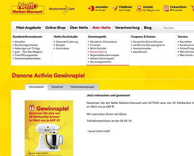Netto Marken Discount Gewinnspiel 32 KitchenAid Artisan Küchenmaschinen
