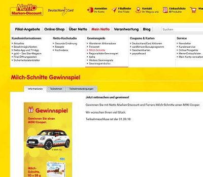 Netto Marken Discount Milch Schnitte Auto Gewinnspiel Mini Cooper