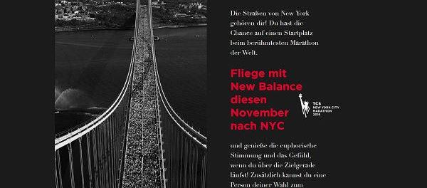 New Balance Gewinnspiel New York Marathon Reise