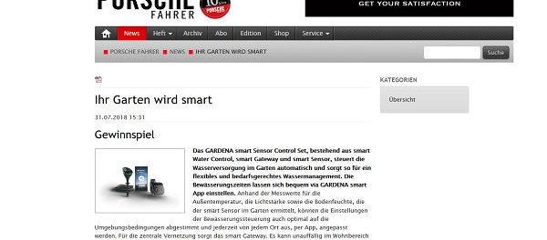 Porsche Fahrer Magazin Gewinnspiel Gardena Smartsystem
