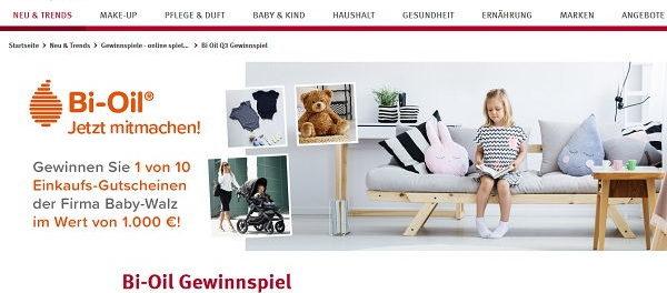 Rossmann Gewinnspiel Bi-Oil verlost 10 Baby Walz 1.000 Euro Gutscheine