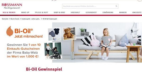 rossmann gewinnspiel bi oil verlost 10 baby walz. Black Bedroom Furniture Sets. Home Design Ideas