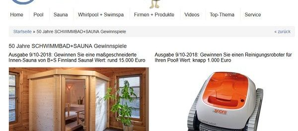 Schwimmbad.de Gewinnspiel maßgeschneiderte Innen Sauna gewinnen