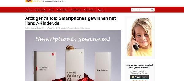 Smartphone Gewinnspiel Handy-Kinder.de Samsung und Huawei Handys