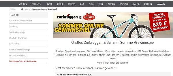 Zurbrüggen Gewinnspiel 5 Bianchi Fahrräder gewinnen