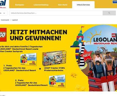 real Gewinnspiel Legoland Tageskarten und Lego Creator Set