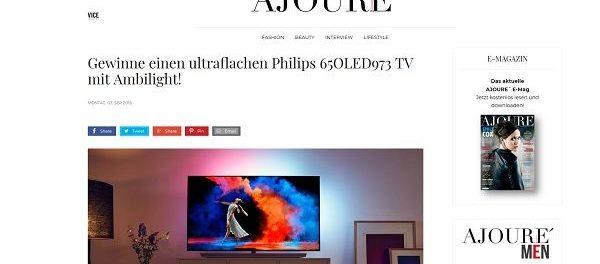 Ajoure Magazin Gewinnspiele Philips 65 ZToll TV