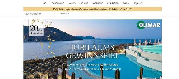 Alba Moda Jubiläums Gewinnspiel 5 Sterne Italien Urlaub