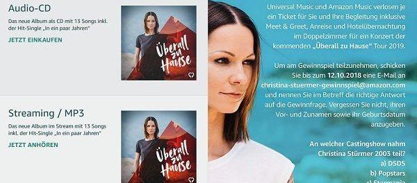 Amazon Gewinnspiel Christina Stürmer Konzertbesuch Anreise Übernachtung
